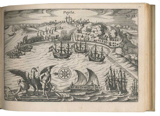 Joris van Spilbergen. Miroir Oost & West-Indical, Amsterdam, Johannes Janssonius, 1621. 4to oblong. Later vellum with gilt double line along the edges. With 24 (out of 25) maps, plans, views and battle-scenes. Estimate: 10,000 euros - 15,000 euros. Image courtesy of Adams Amsterdam Auctions.
