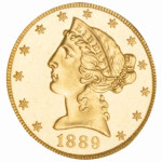 1889 $5 Liberty Half-Eagle NGC PF 65 cameo gold coin. Provenance: Amon Carter collection, $44,800. Morphy Auctions image.