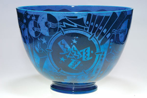 Rare and important Cowan Jazz bowl designed by Viktor Schreckengost and executed at Cowan, circa 1930. Height 12 inches tall and over 16 1/4 inches in diameter. Estimate: $40,000-$70,000. Image courtesy of Humler and Nolan.