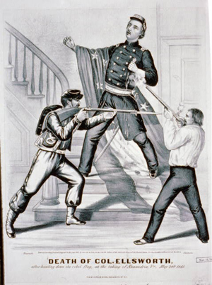 Currier & Ives depicted the death of Col. Ellsworth after he hauled down the rebel flag, at the taking of Alexandria, Va., May 24, 1861. Image courtesy of Wikimedia Commons.
