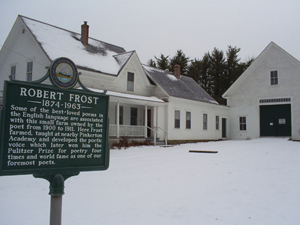 The Robert Frost farmhouse in Derry, N.H., was recently renovated. It was at this farm where he wrote many of his poems including 'West Running Brook,' 'Tree at my Window,' and 'Mending Wall.' This work is licensed under the Creative Commons Attribution 3.0 License.