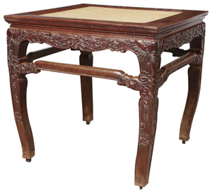 Chinese huanghuali wood stool with Chi dragon patterns, Ming Dynasty. Image courtesy of LiveAuctioneers.com Archive and Auctions 100 Co. Ltd.