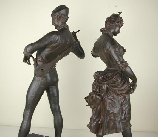 Paul Dubois 'Columbine and Harlequin - Commedia dell'Arte,' pair bronze figures, Devel Fondeur, taller 34 inches. Estimate: $5,000-$7,000. Image courtesy of Leighton Galleries.