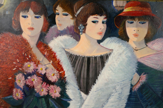 Charles Levier 'Parisiennes,' oil on canvas, 24 x 36 inches. Estimate: $2,000-$3,000. Image courtesy of Leighton Galleries.
