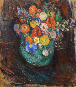 Abraham Manievich (Russian, 1881-1942), Still Life with Green Vase and Flowers (verso: Winter Village Scene), est. $20,000-$30,000. Trinity International image.