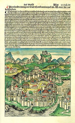 A hand-colored page from a known copy of the 'Nuremberg Chronicle' depicting and describing Constantinople in 1493. Image courtesy of Wikimedia Commons.