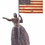 Look closely at the stars shown in any flag used as a design. It may help date it. This rare molded copper Liberty weather vane was estimated to sell for $150,000 to $200,000, but no one bid high enough to buy it. The circle of stars shows it was made in 1867.