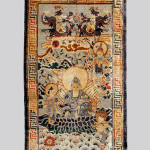 Chinese silk pictorial rug, approximately 4 feet x 6 feet 11 inches, sold for $11,700. Image courtesy of Michaan's Auctions.