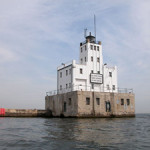 The Art Deco-style Milwaukee Breakwater Lighthouse went into service in 1926. This work is licensed under the Creative Commons Attribution-ShareAlike 3.0 License.