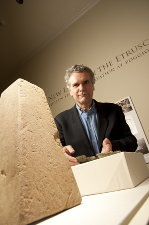 SMU Art History Professor Gregory Warden in a 2009 photograph taken at the Etruscan exhibit at Southern Methodist University's Meadows Museum. Image courtesy of SMU's Meadows School of the Arts.