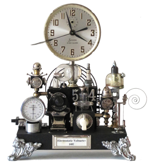 The Steampunk movement flourishes through inventive repurposing: old elements find new uses. 'Nemo's Steampunk Clock/Electrostatic Voltmeter' is the time-telling creation of Roger Wood; see more of his designs at www.klockwerks.com. Image courtesy Klockwerks.