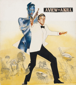 The original artwork by Vic Fair for the 1985 Bond film 'A View to a Kill' starring Roger Moore, which more than doubled its estimate to fetch £12,500 ($20,500) at Christie's South Kensington this week. Image by permission of Christie's Images Ltd.