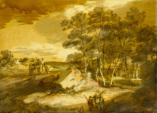 This pen, brown ink and wash drawing of a wooded landscape by Thomas Gainsborough is currently with London dealer Guy Peppiatt, whose summer exhibition includes a wealth of such high quality landscape views. Image courtesy Guy Peppiatt.