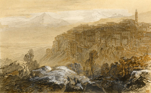 This fine pen, brown ink and watercolor view of Sartene, Corsica by Edward Lear (1812-1888) is currently on exhibiition with London Mason's Yard dealer Guy Peppiatt. Image courtesy Guy Peppiatt.