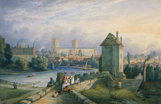 Gloucestershire dealer Derek Newman will be showing at the Harrogate Pavilions Antiques Fair on June 17-19, where he will be offering this charming 'View of York from the castle walls,' signed and dated 1829 by William Frederick Wells (1762-1836). Image courtesy Derek Newman Fine Art.