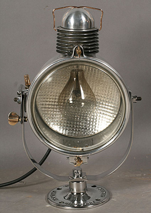 A vintage Golden Glow spotlight in polished steel, made by the Electric Supplier Co. of Philadelphia, circa 1920, brought $1,080 in April. Image courtesy Kamelot Auctions, Philadelphia.