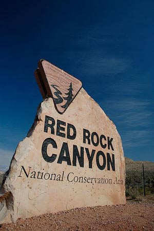 Sign at entrance to Red Rock Canyon National Conservation Area. Photo by Byron and Tamara, sourced through Flickr, licensed under the Creative Commons Attribution 2.0 Generic license.