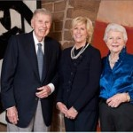 Harry W. Anderson, left, Mary Patricia Anderson Pence and Mary Margaret Anderson stand between two paintings, a Franz Kline and a Mark Rothko, which are part of the gift to Stanford. Image courtesy of The Stanford Report, Stanford University. Photo by Linda Cicero/Stanford News Service, used by permission.