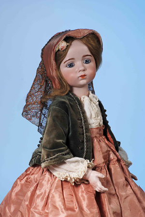 The ultimate acquisition for the collector of antique French dolls, this magnificent art doll by French sculptor Albert Marque, circa 1914, is presented in all her alluring beauty in Frasher's July 9 auction. Estimate: $125,000-$150,000. Image courtesy of Frasher's Doll Auction.