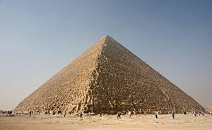 The Great Pyramid of Giza, also called the Pyramid of Khufu and the Pyramid of Cheops; photo by Nina Aldin Thune, licensed under the Creative Commons Attribution-Share Alike 3.0 Unported license.