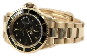 Man's Rolex Submariner Oyster Perpetual Date watch, Model 1680, circa 1968, 18tk yellow gold case and 069 bracelet. Estimate: $7,000-$10,000. Image courtesy of Affiliated Auctions.