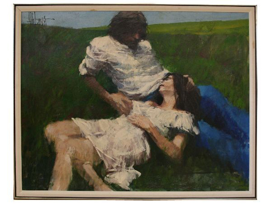 Acrylic painting by Aldo Luongo, 'The Lovers,' 45 x 57 inches, framed. Estimate: $5,000-$6,000. Image courtesy of Affiliated Auctions.