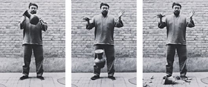Ai Weiwei, 'Dropping a Han Dynasty Urn' triptych photograph. Image courtesy of LiveAuctioneers Archive and Phillips de Pury & Co.