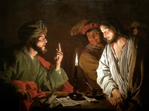 Dutch golden age artist Matthias Stom painted 'Christ before Caiaphas' in the early 1630s. Image courtesy of Wikimedia Commons.