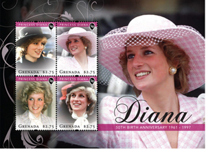 From a selection of Princess Diana 50th birthday commemorative stamps issued by Grenada.