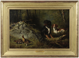 F. Tate's A Closer Point of ruffed grouse and spaniels measures 16 x 24-1/8 inches and is estimated at $20,000/$30,000. Image courtesy Brunk Auctions.