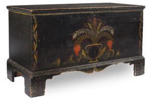 North Carolina paint-decorated blanket chest, 1840s: $80,500. Image courtesy of Leland Little Auction & Estate Sales Ltd.