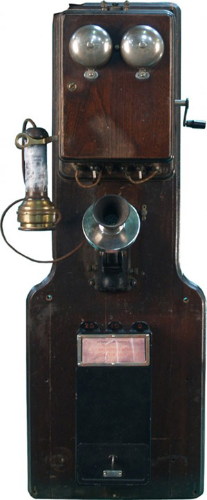 Ron Knappen regularly works on pay telephones like this early wooden wall-mount model. Image courtesy of LiveAuctioneers Archive and Victorian Casino Antiques.