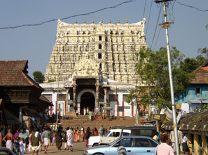 Sri Padmanabhaswany Temple in Thiruvananthapuram (Trivandrum). Feb. 2003 photo by Rainer Haessner, licensed under the Creative Commons Attribution-Share Alike 3.0 Unported license.