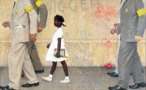 """'The Problem We All Live With,' Norman Rockwell, 1963. Oil on canvas, 36"""" x 58"""". Illustration for Look magazine, January 14, 1964. Norman Rockwell Museum Collection. ©NRELC, Niles, IL."""