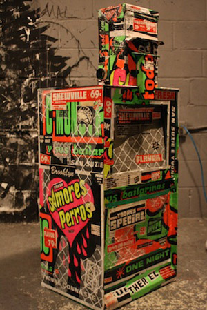 El Celso's box reflects his fascination with Peruvian 'chichi'-style posters. Photo by Kelsey Savage Hays.