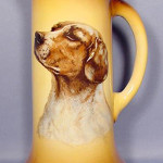Tankard from a set that included five mugs, all with images of dogs, produced by Taylor, Smith & Taylor. Image courtesy of LiveAuctioneers.com archive and Tom Harris Auction Center.
