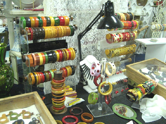 Unique handmade Bakelite jewelry is always available from Karen Kronimus, Image courtesy of the West Palm Beach Antiques Festival.
