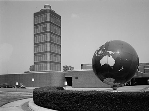 The Johnson Wax Research Tower, designed by Frank Lloyd Wright, was named a National Historic Landmark in 1976. Image courtesy of Wikimedia Commons.