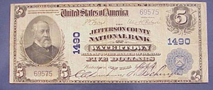 Example of a $5 U.S. National Bank note, this one being from from the 1902 Third Issue series issued by the Jefferson County National Bank of Watertown, New York. Auctioned by William J. Jenack Estate Appraisers & Auctioneers on June 5, 2005, for $103.50. Image courtesy of LiveAuctioneers.com archive and William J. Jenack.