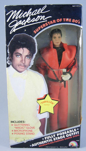 A Michael Jackson doll is dressed in a 'Thriller' costume that depicts the famous red jacket. Image courtesy of LiveAuctioneers archive and McMasters Harris Auction Co.