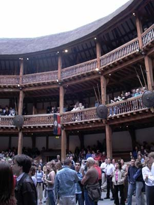 A view of the galleries at London's rebuilt Globe Theatre. The movie set in Berlin is a life-size replica of Shakespeare's original playhouse. Image courtesy of Wikimedia Commons.