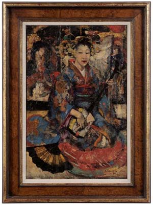 """Brunk Auctions devoted an entire page in the color catalog to Edward Atkinson Hornel's Music in Japan, a 24 ¼"""" X 15-7/8"""" oil on canvas painting of a seated shamisen player. The 1894 painting opened at its reserve of $22,000 and sold to a phone bidder for $114,000. Image courtesy of Brunk Auctions."""