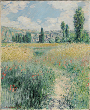 Path on the Island of Saint Martin, Vetheuil,' 1881, by Claude Monte (French, 1840-1926). Oil on canvas, 29 x 23 1/2 inches. Philadelphia Museum of Art. Gift of John C. Haas and Chara C. Haas. Image courtesy of the Philadelphia Museum of Art.