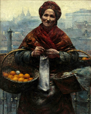 Aleksander Gierymski painted 'Jewish Woman Selling Oranges' around 1880-1881. It was plundered from the National Museum in Warsaw during World War II. Image courtesy of Wikimedia Commons.