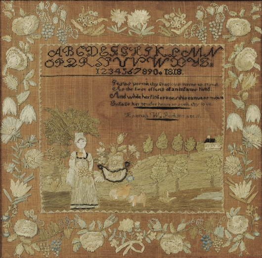 Needlework sampler, 'Hannah W. Perkins Age 11,' Jaffrey, N.H., 1818, wrought with silk, chenille, and metallic threads on a linen ground with painted and pricked paper details, 17 1/4 x 18 1/4 inches. Estimate $8,000-$12,000. Image courtesy of Skinner Inc.