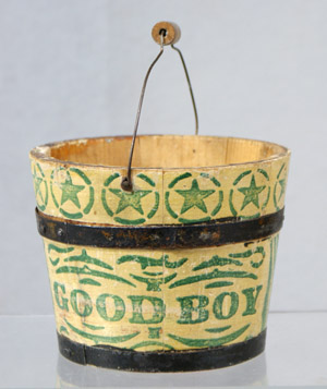 Miniature decorated 'Good Boy' folk art bucket. Image courtesy of William H. Bunch.