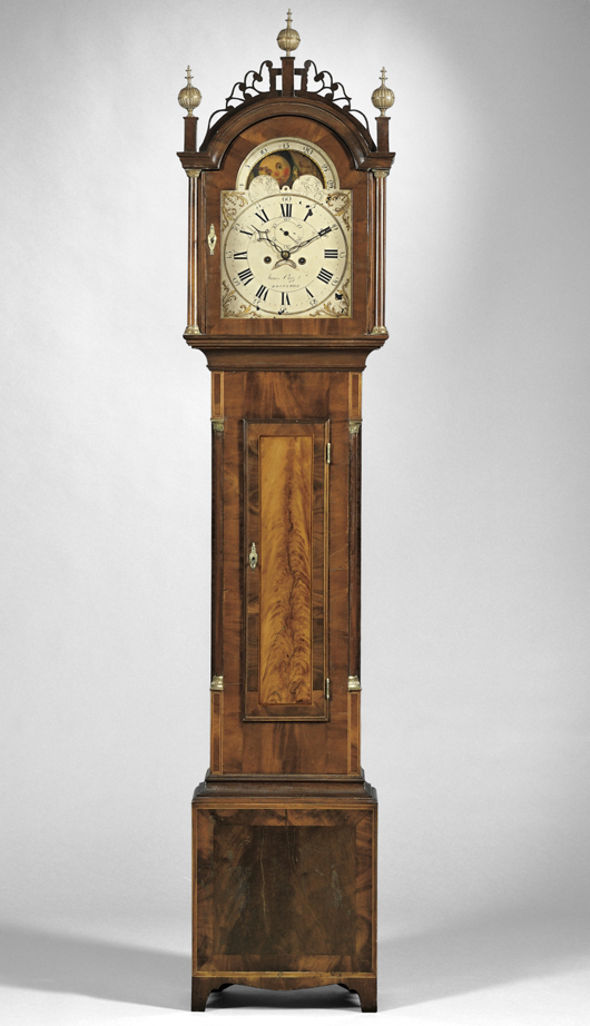 Federal mahogany inlaid tall-case clock, James Cary Jr., Brunswick, Maine, circa 1810-15, brass eight-day weight-driven movement, calendar aperture, 92 1/2 inches high. Estimate $6,000-$8,000. Image courtesy of Skinner Inc.