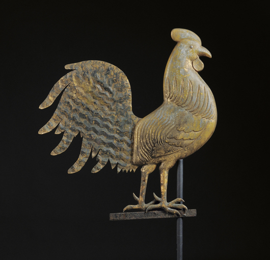 J. Howard gilt zinc and copper rooster weather vane, West Bridgewater, Mass., circa 1854-67, cast zinc flattened full-body vane, weathered gilt surface, with stand, overall ht. 31, lg. 25 3/4 in. Estimate $10,000-15,000