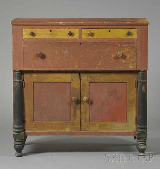 Paint-decorated sideboard, attributed to the Loomis workshop, Shaftsbury, Vermont, c. 1825-40. To be auctioned Aug. 14 at Skinner. Image courtesy of Skinner Inc.