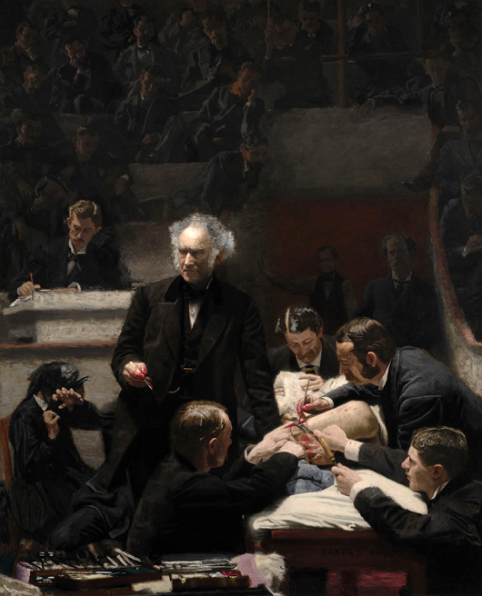 Thomas Eakin's The Gross Clinic, 1875, is now owned by the Philadelphia Museum of Art and the Pennsylvania Academy of Fine Arts. Image courtesy of Wikimedia Commons.